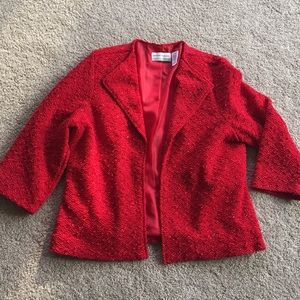 Sparkly red holiday cropped jacket